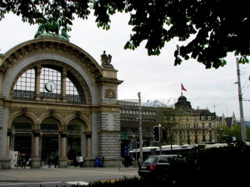 Cupola at Lucerne Railway Station, Lucerne, Switzerland, Lucerne Railway station, entrance to Lucerne Railway station