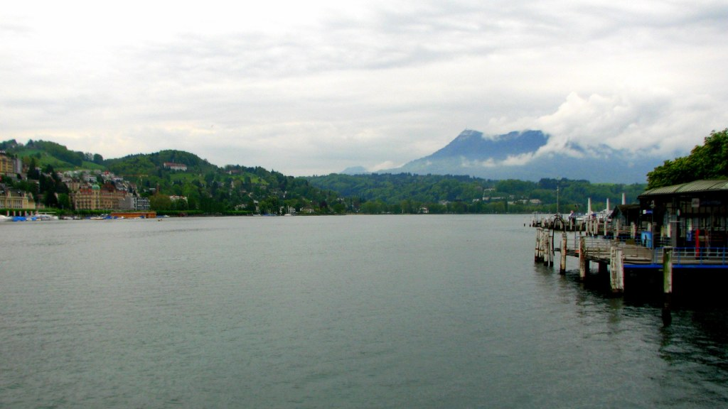 View from Lake Lucerne, Switzerland, lakeside view of mountains in Switzerland
