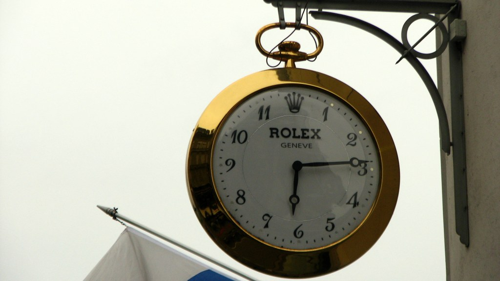 Rolex showroom signpost, Lucerne's Rolex watch signpost