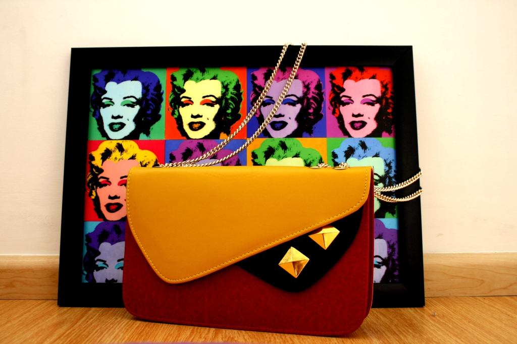Marilyn Monroe Pop Art, Andy Warhol inspired art, Colour-blocked clutch